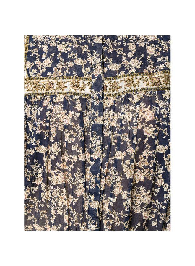 Long Sleeve Printed Jumpsuit in Navy
