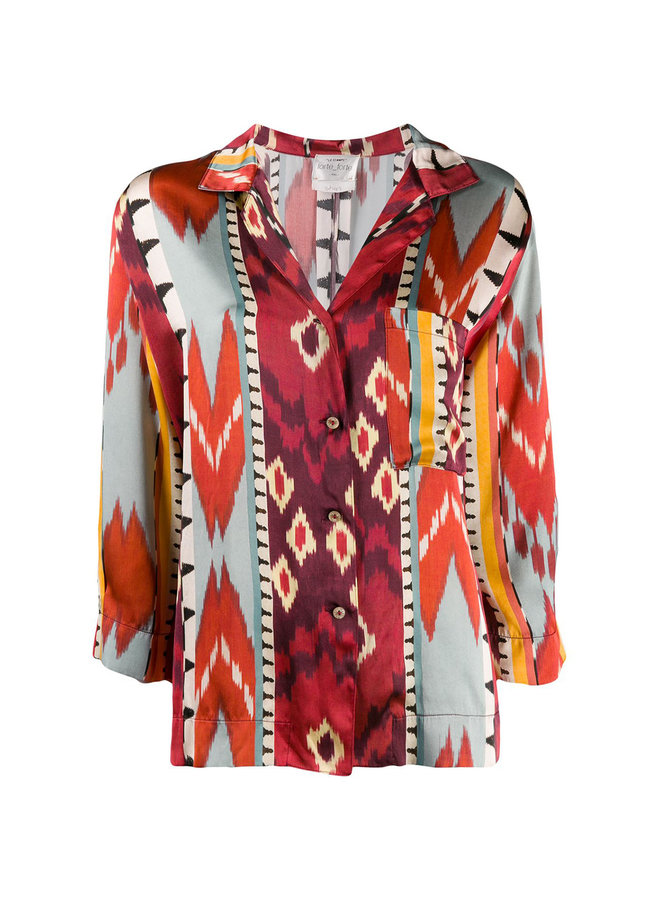 Long Sleeve Printed Shirt in Red/Orange