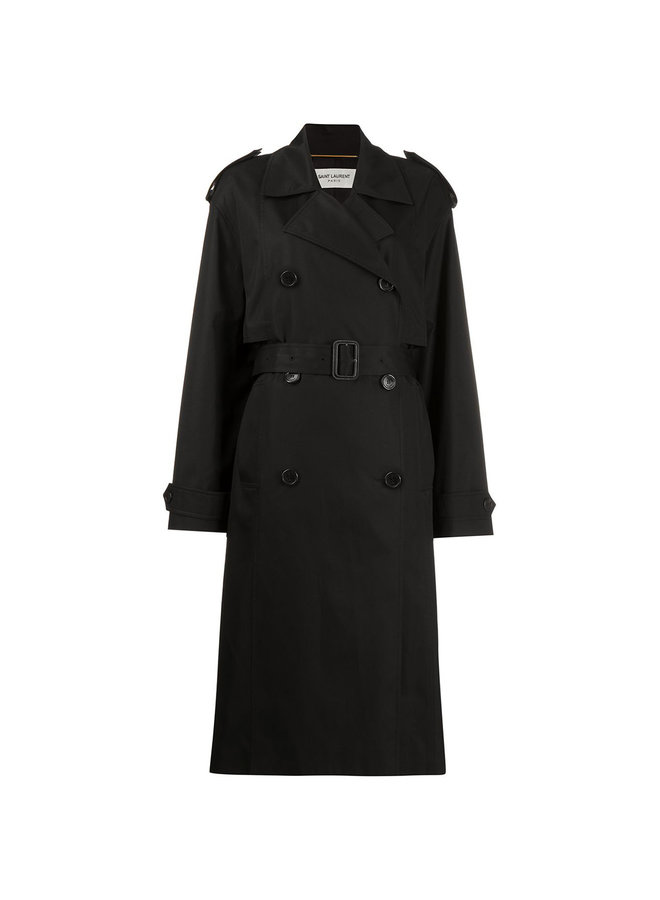 Long Trench Coat with Belt in Black