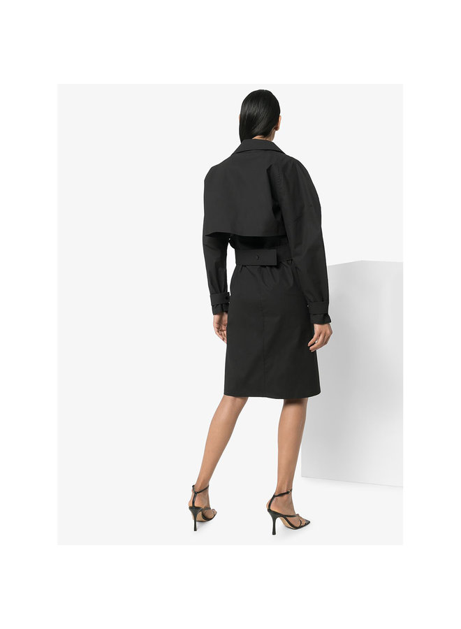 Long Sleeve Shirt Dress in Black
