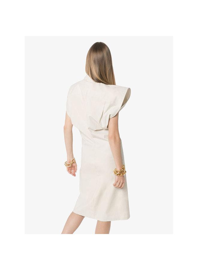 Short Sleeve Shirt Dress in Snow