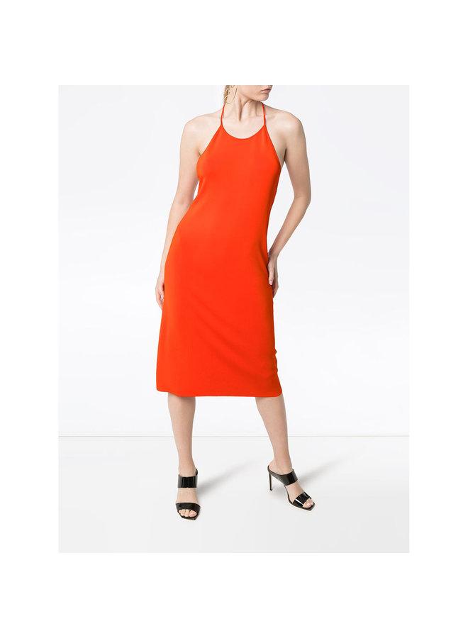 BV Knee Length Open Back Dress in Orange