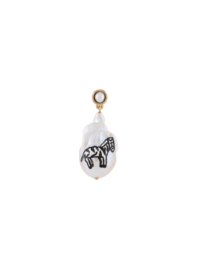 Single Earring with Pearl and Zebra Sketch
