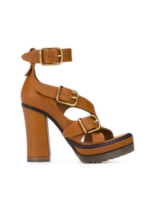 High Heel Leather Strap Sandals