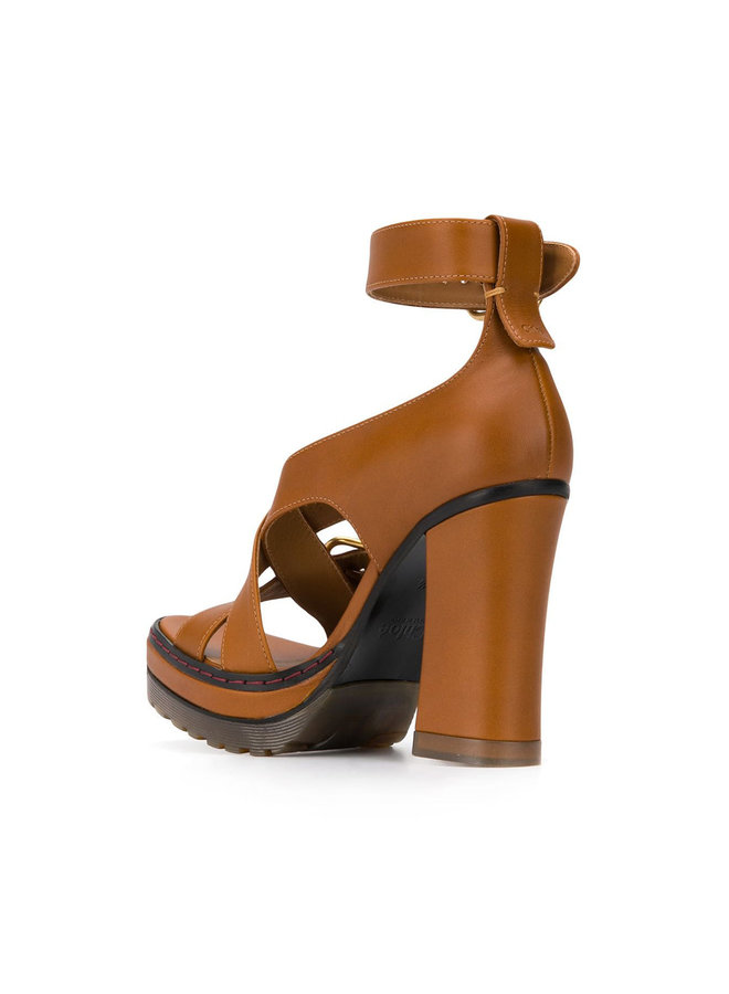 High Heel Leather Strap Sandals in Brown