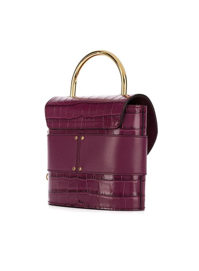 Aby Lock Bag in Embossed Croco in Violet