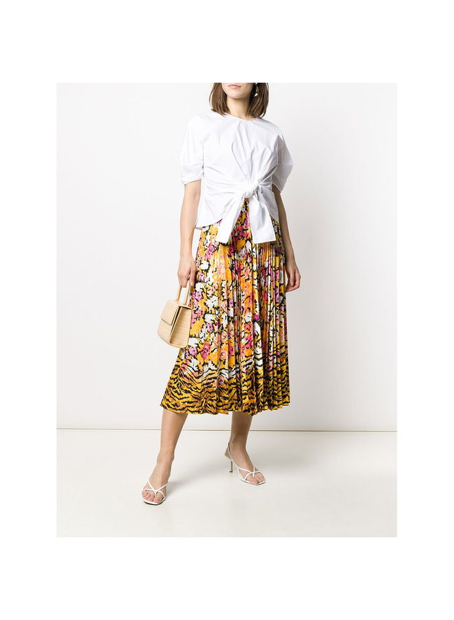 Kim Midi Skirt in Saffron Cloud Tiger Print