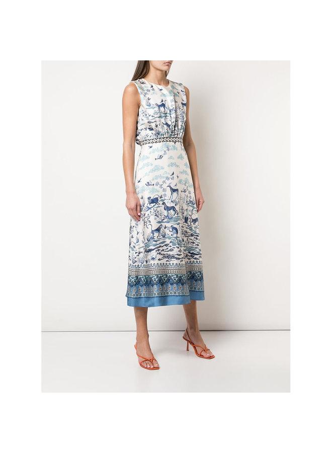 Fleur Midi Dress in Porcelain Border Print