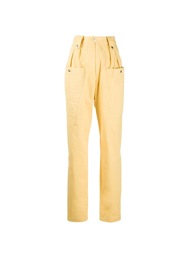 High Waisted Casual Pants in Yellow