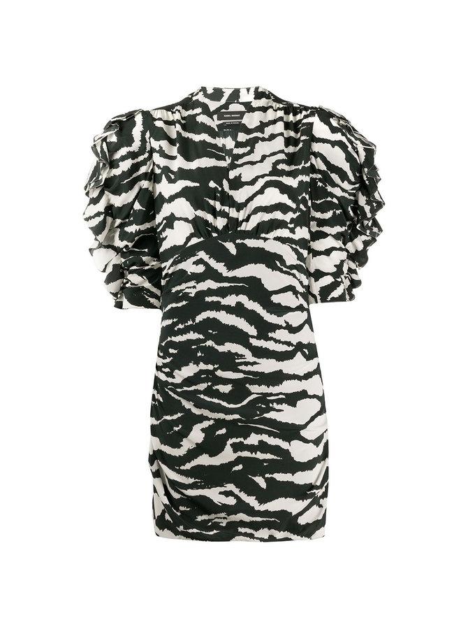 Mini Ruffles Dress in Zebra Print in Black