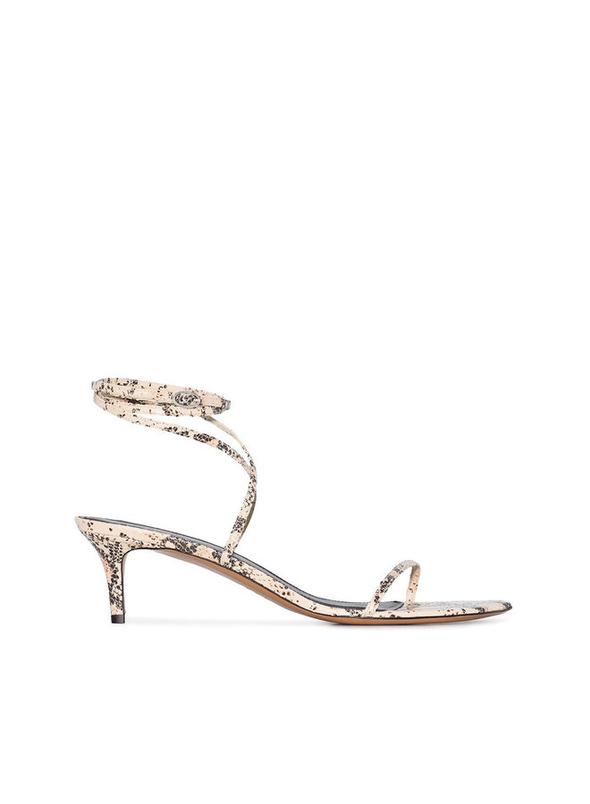 Low Heel Sandal in Printed Python