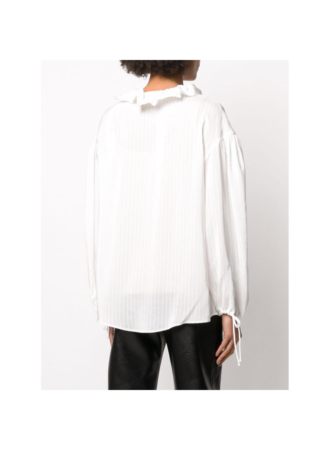 Long Sleeve Blouse in White Textured Stripe