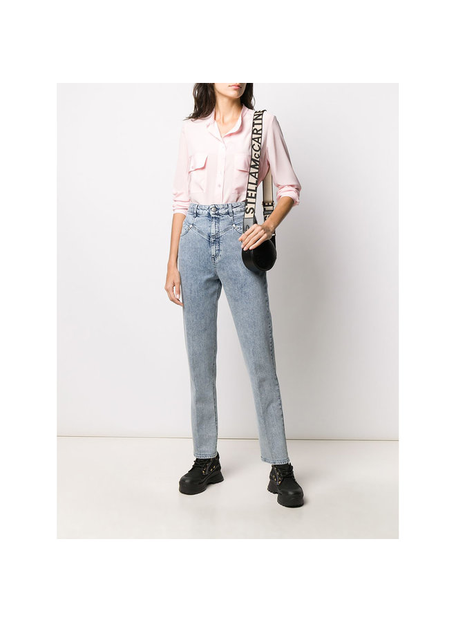High Waisted Denim Pants in 80'S Blue Denim