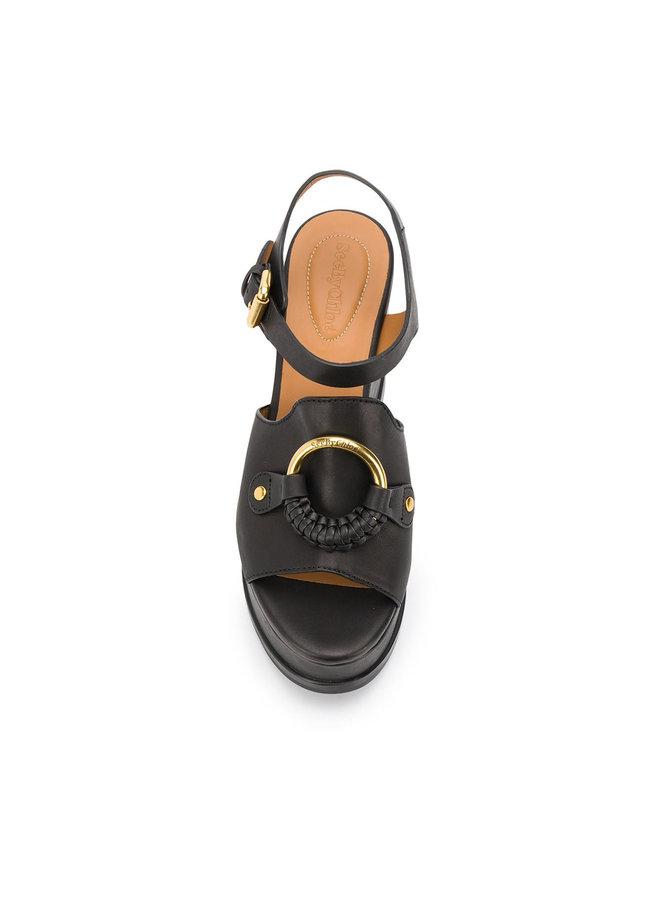 Hana Wedge Sandals in Black Leather