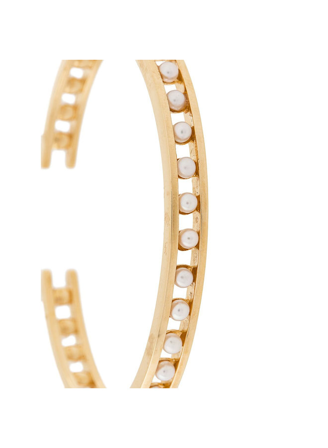 Skinny Tiger Pearl Cuff in Gold