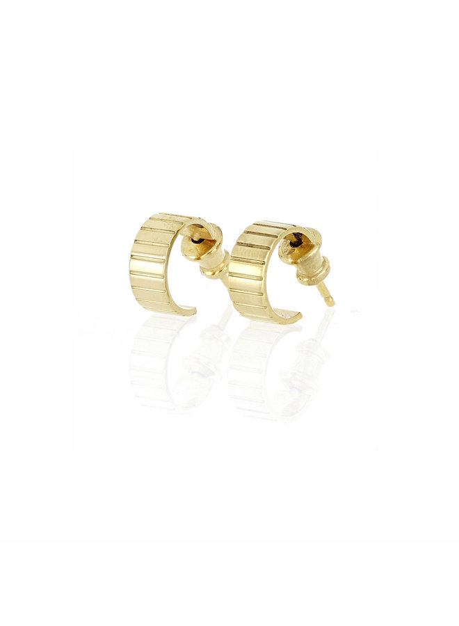 Mini Single Slot Hoop Earrings in Gold