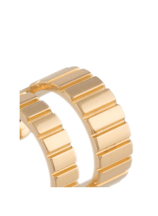 Mini Slot Hoop Earrings in Gold