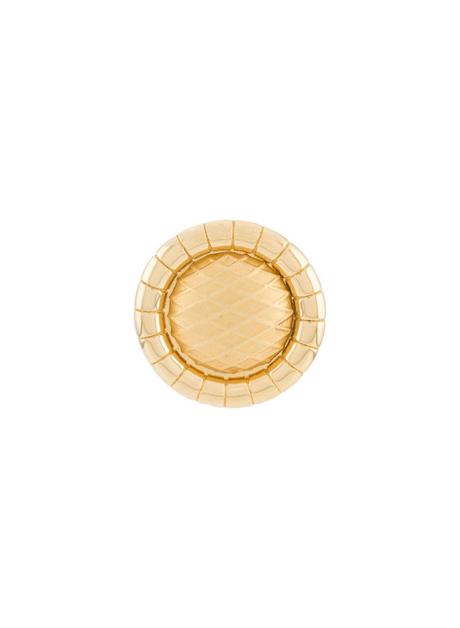 Mini Round Signora Clip Earrings in Gold