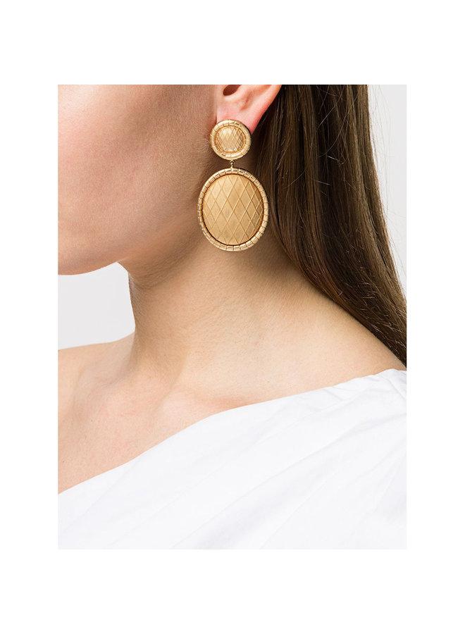 Signora Oval Drop Earrings in Gold