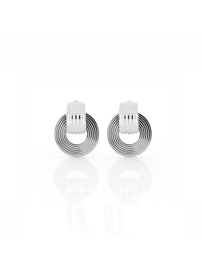 Signore Tube Oval Drop Earrings in Silver