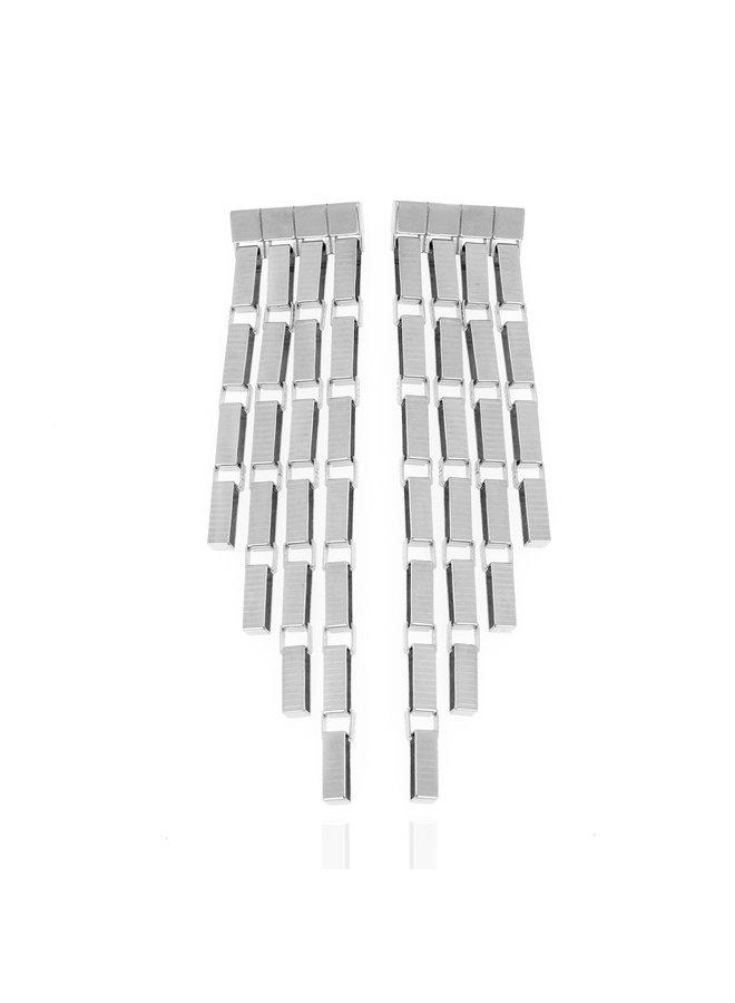 Signore 5 Chain Fringe Earrings in Silver