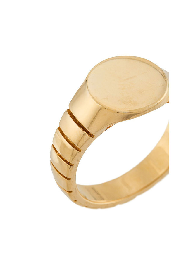 Signore Round Signet Ring in Gold