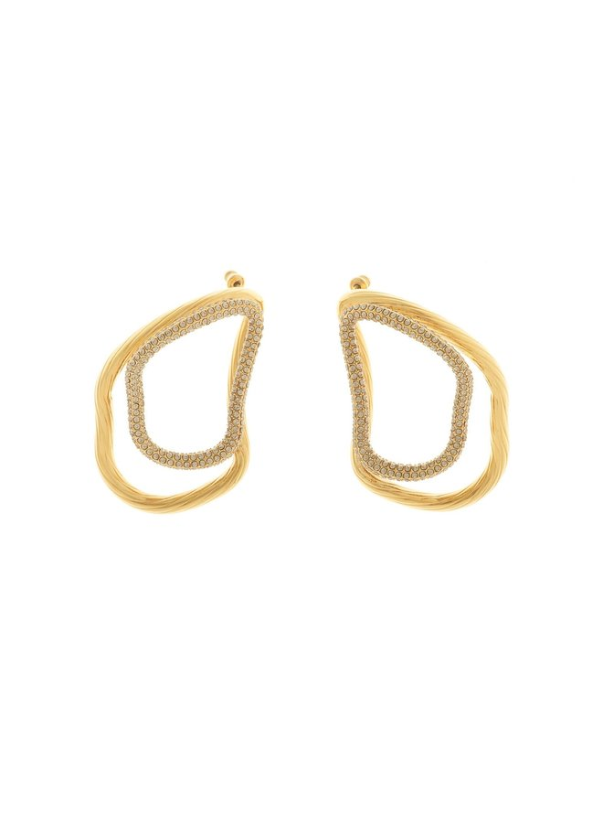 Double Link Earrings in Gold Plated/Crystal