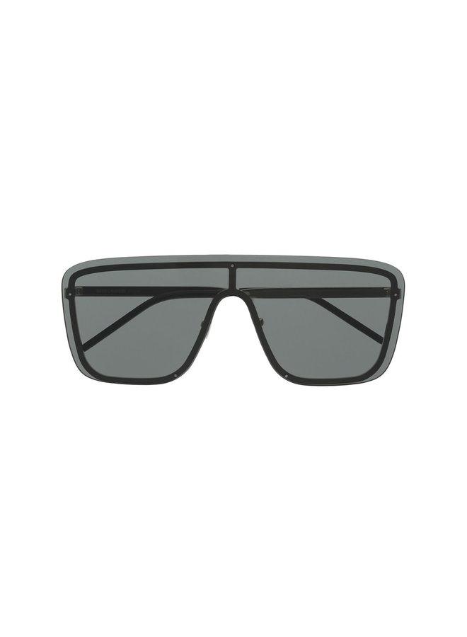 D-Frame Mask Sunglasses in Black Metal