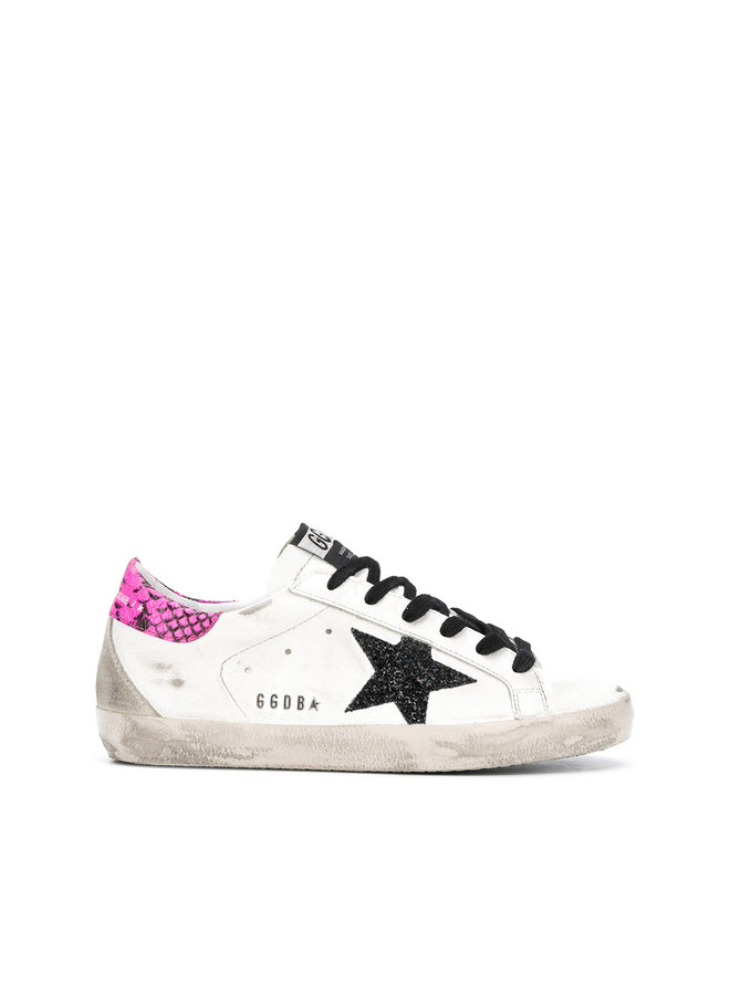 Superstar Sneakers in White with Glitter Star