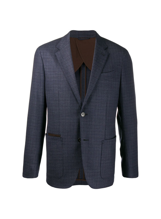 Fitted Stretch Wool Blazer Jacket