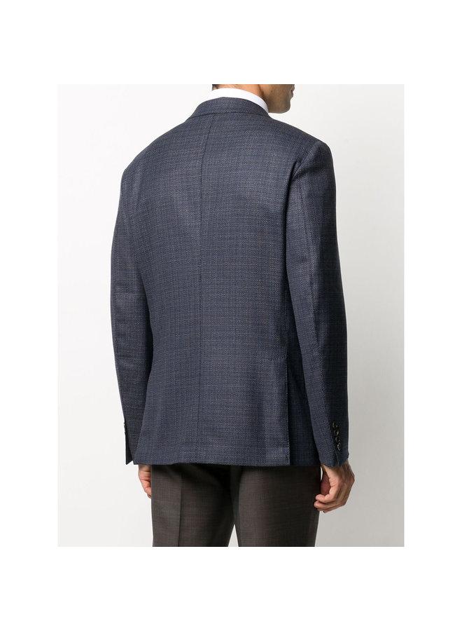 Fitted Stretch Wool Blazer Jacket in Blue
