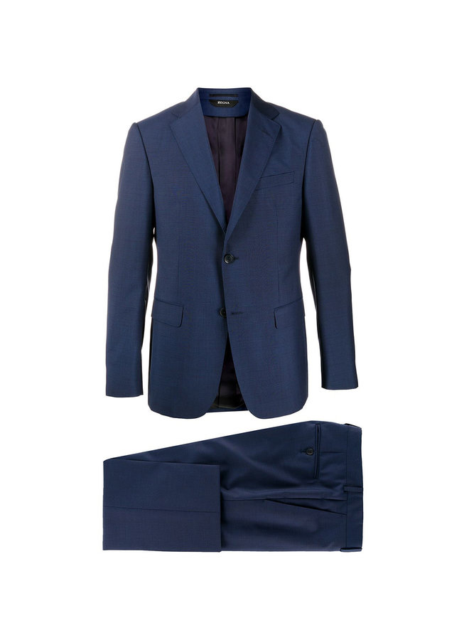 Tropical Wool Suit in Micro checks in Blue