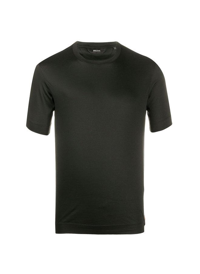 Crew Neck Cotton Jersey T-Shirt in Black