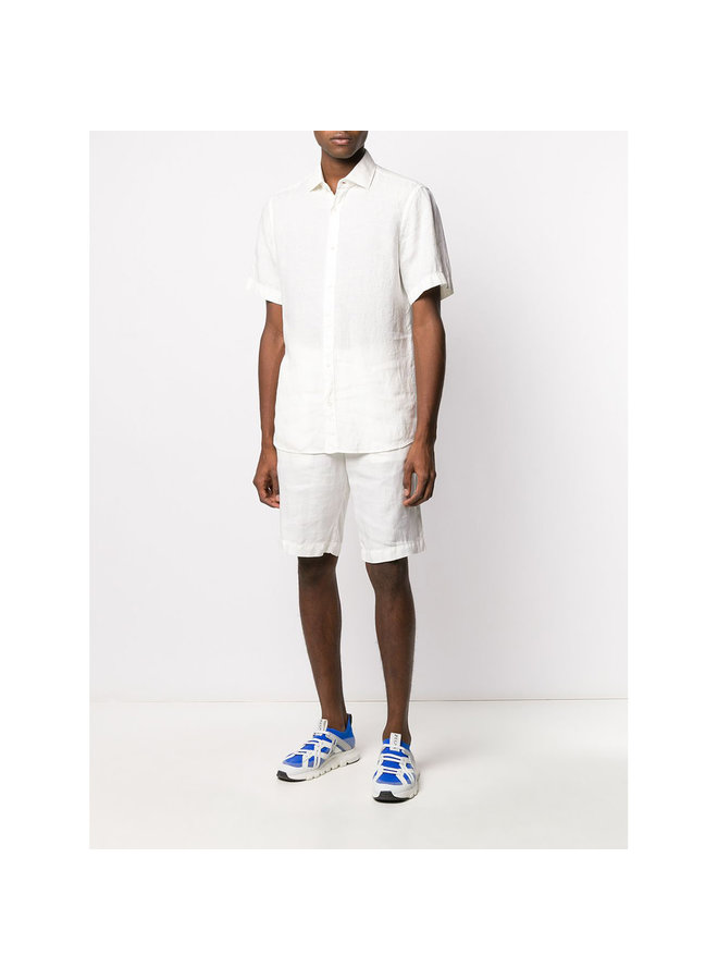 Basic Linen Bermuda in White