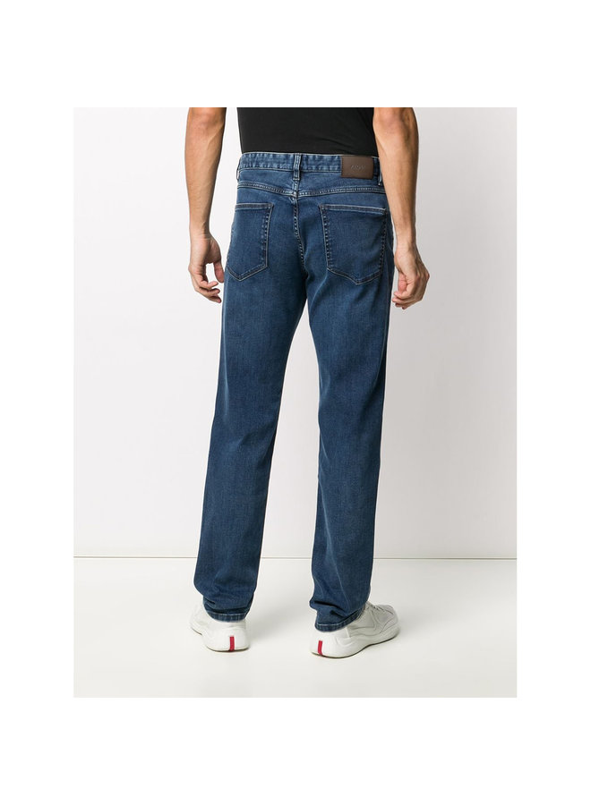 Slim Fit Luxe Denim Jeans In Stonewashed Blue