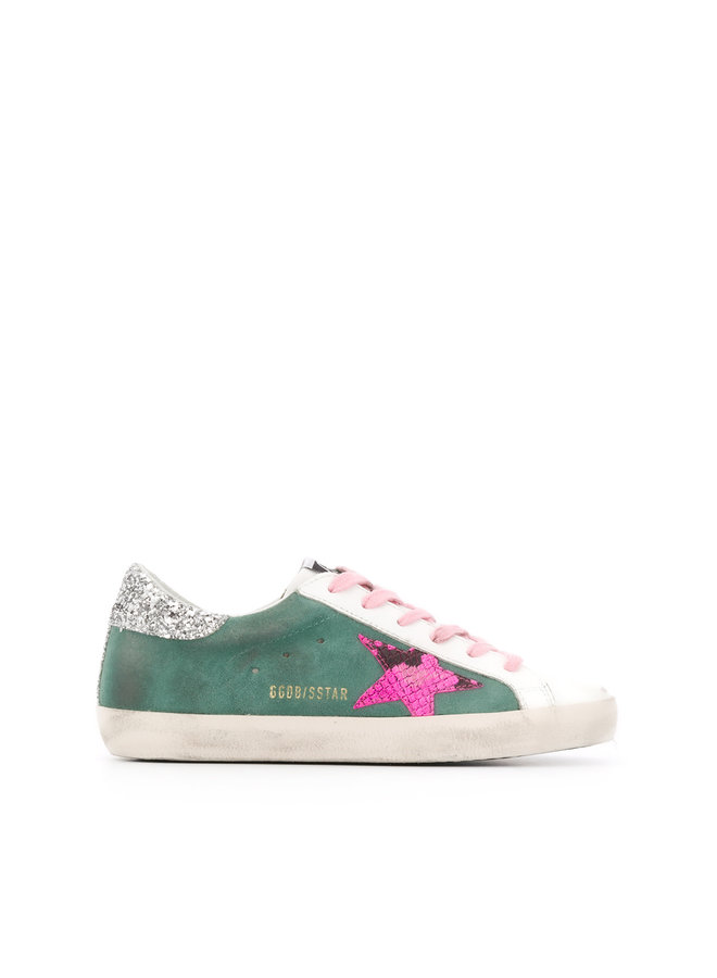 Superstar Sneakers in Green with Fuchsia Star