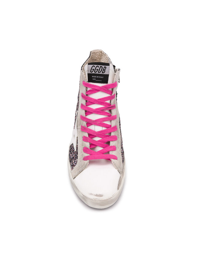 Francy Sneakers in Pink Glitter with White Star