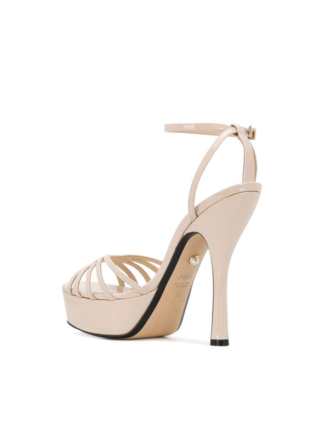 Caterina High Heel Sandal in Patent Sand