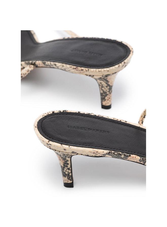 Low Heel Sandal in Printed Python in Nude