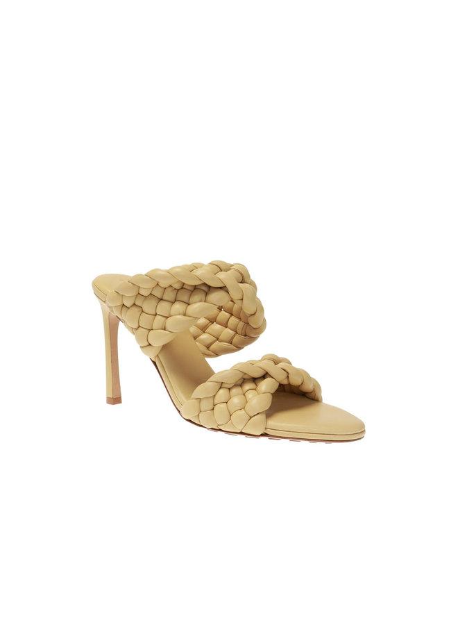 High Heel Twist Sandal in Intrecciato Leather in Tapioca