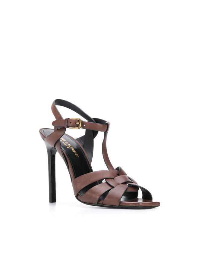 Tribute High Heel Sandal in Leather in Brown