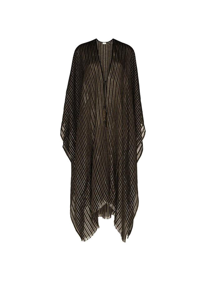 Stripped Poncho in Wool/Silk