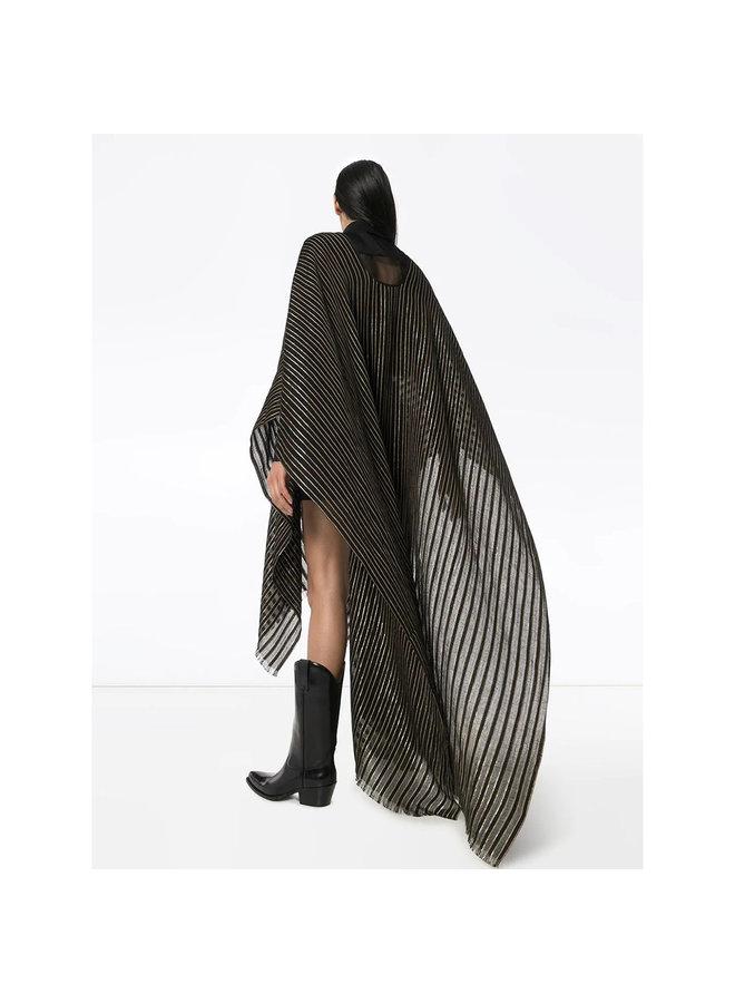 Stripped Poncho in Wool/Silk in Black