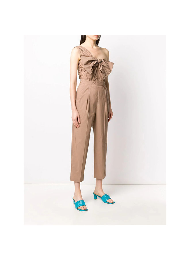 One Shoulder Jumpsuit in Cotton in Tan
