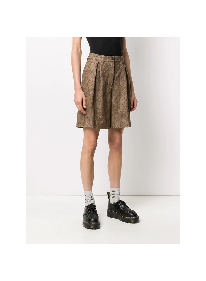 Knee Length Shorts in Lace in Tan