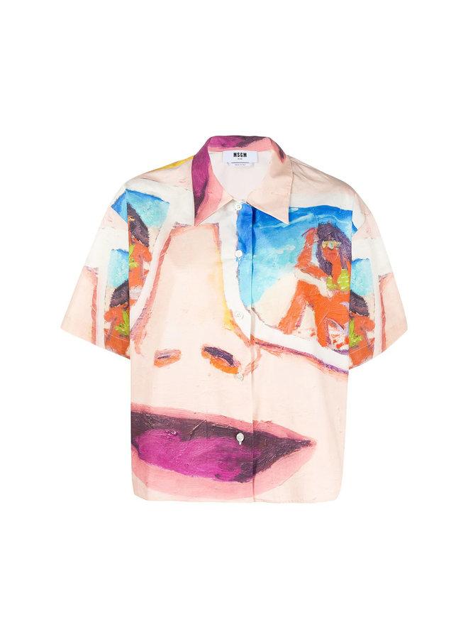 Short Sleeve Printed Face Shirt