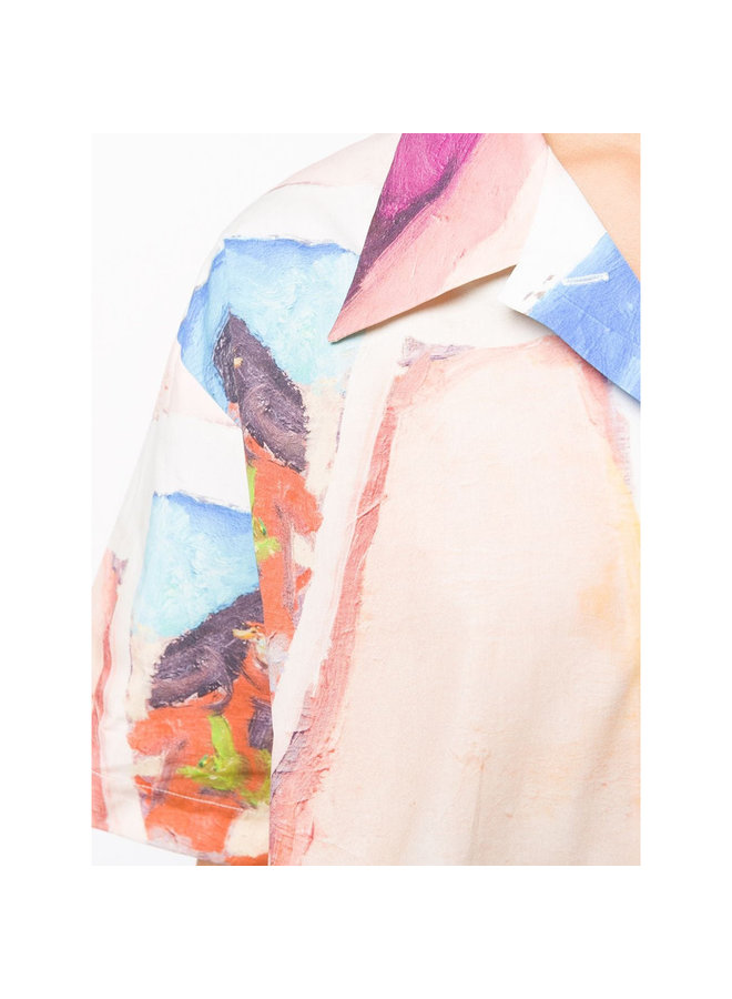 Short Sleeve Printed Face Shirt in Multi