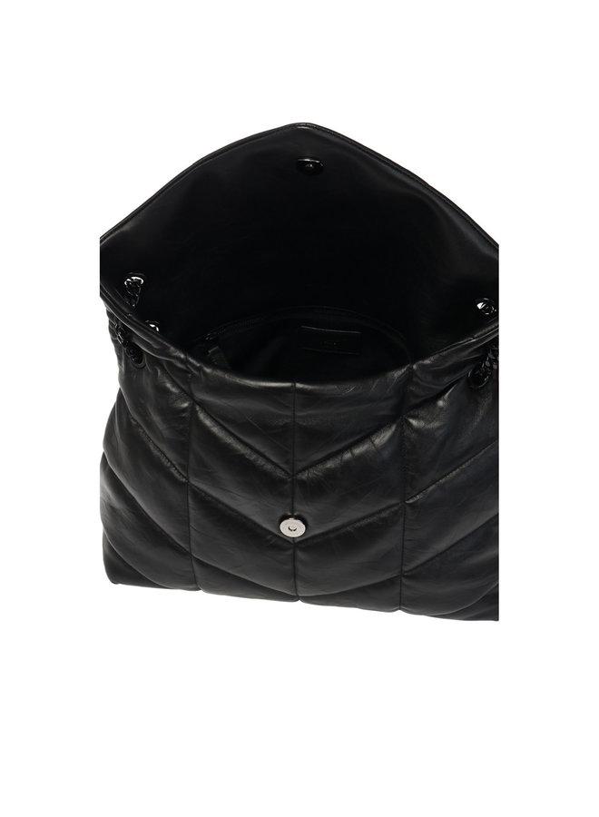 Loulou Medium Puff Shoulder Bag in Leather in Black/Black