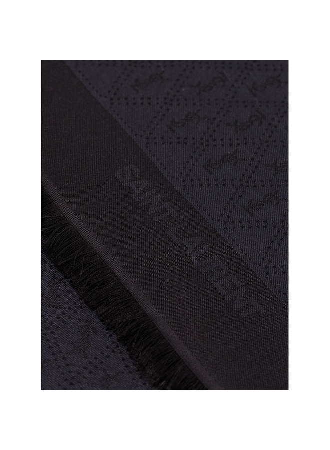 YSL Logo Printed Scarf in Black/Blue