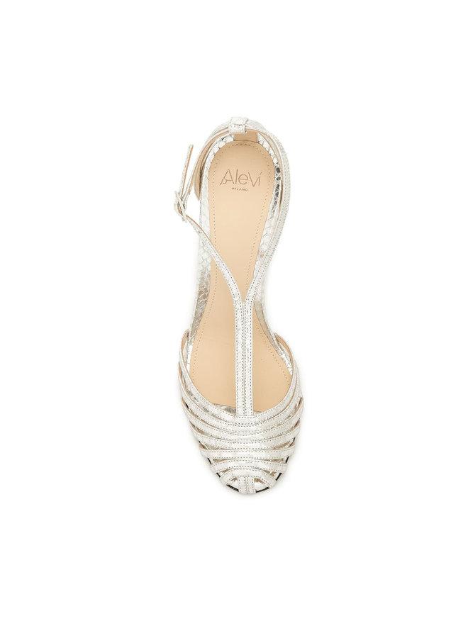 Toni High Heel Sandal in Snake Silver